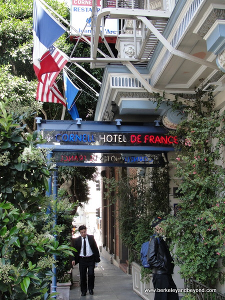 entrance to Cornell Hotel de France in San Francisco