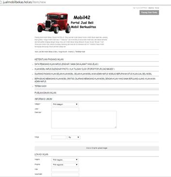 Form Pasang Iklan Mobil Bekas & Mobil Baru Di jualmobilbekas.hol.es