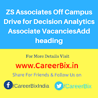 ZS Associates Off Campus Drive for Decision Analytics Associate Vacancies