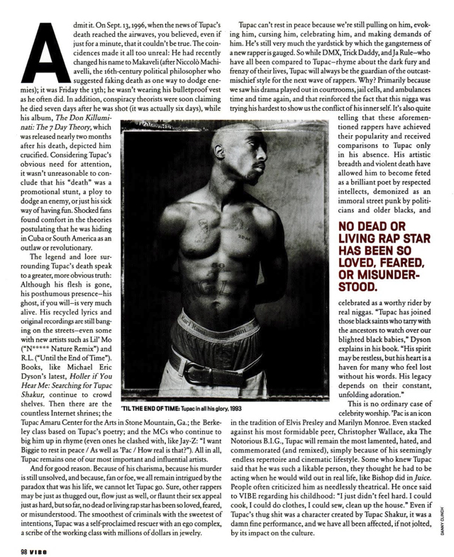 2Pac Vibe Magazine January 2002 Hip-Hop Nostalgia