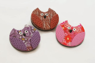 Polymer Clay Owl Brooches handmade by Lottie Of London