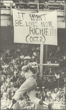 Sign hangs at Connie Mack Stadium during Allen's last game in Philadelphia in 1969.