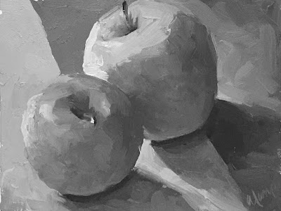 color study of apple still life Apr 11 2019 - black and white