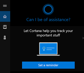 screenshot of Cortana on my Windows 10 laptop