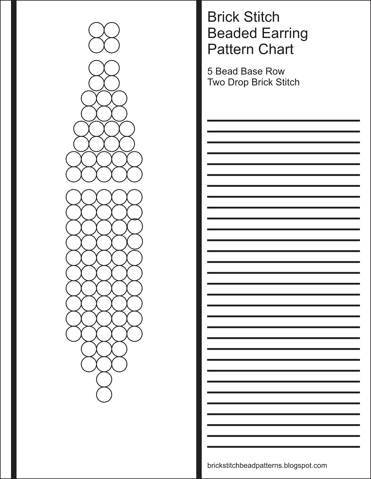 Brick Stitch Bead Patterns Journal 5 Bead Base Row 2 Drop Blank Round Beaded Earring Pattern Chart