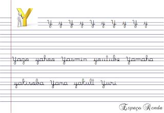 caderno de caligrafia letra Y
