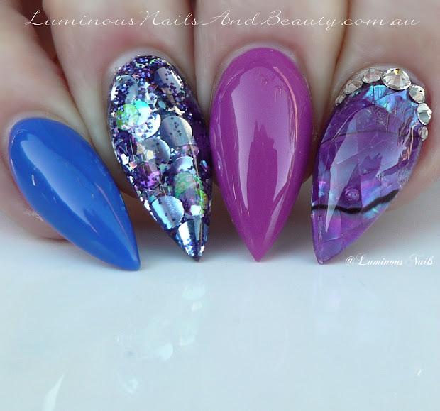 luminous nails purple pearl &