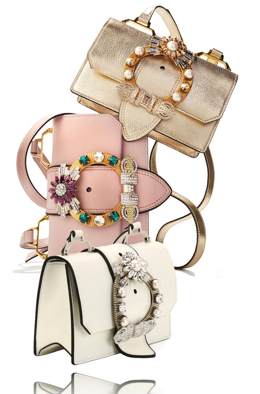 Miu Miu Madras Jewels Embellished Shoulder Bag