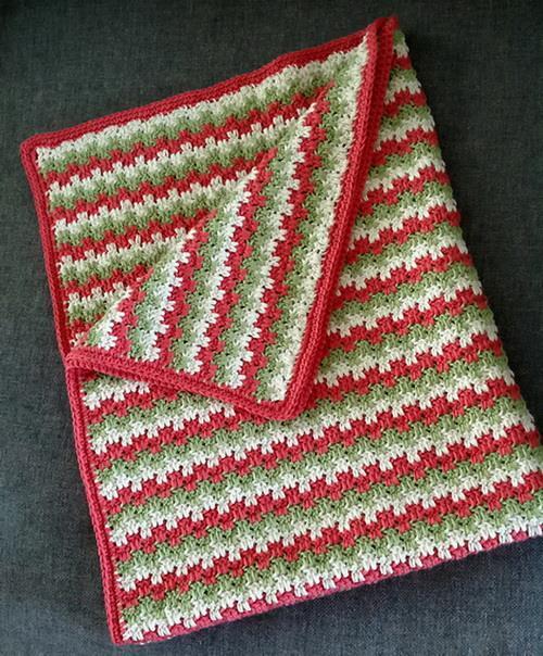 Crochet free pattern blanket, Interlocking-block crochet stitch