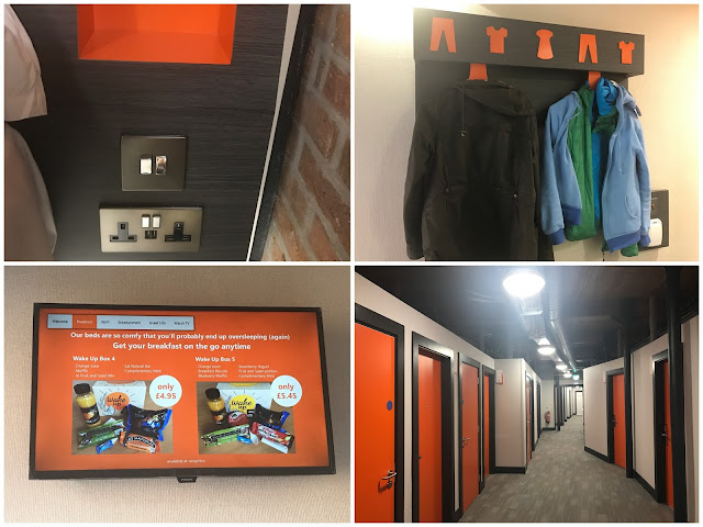 A collage of 4 photographs showing the light switches, plus and shelf next to the bed, a place to hang your coat, the Television and a corridor with lots of orange doors