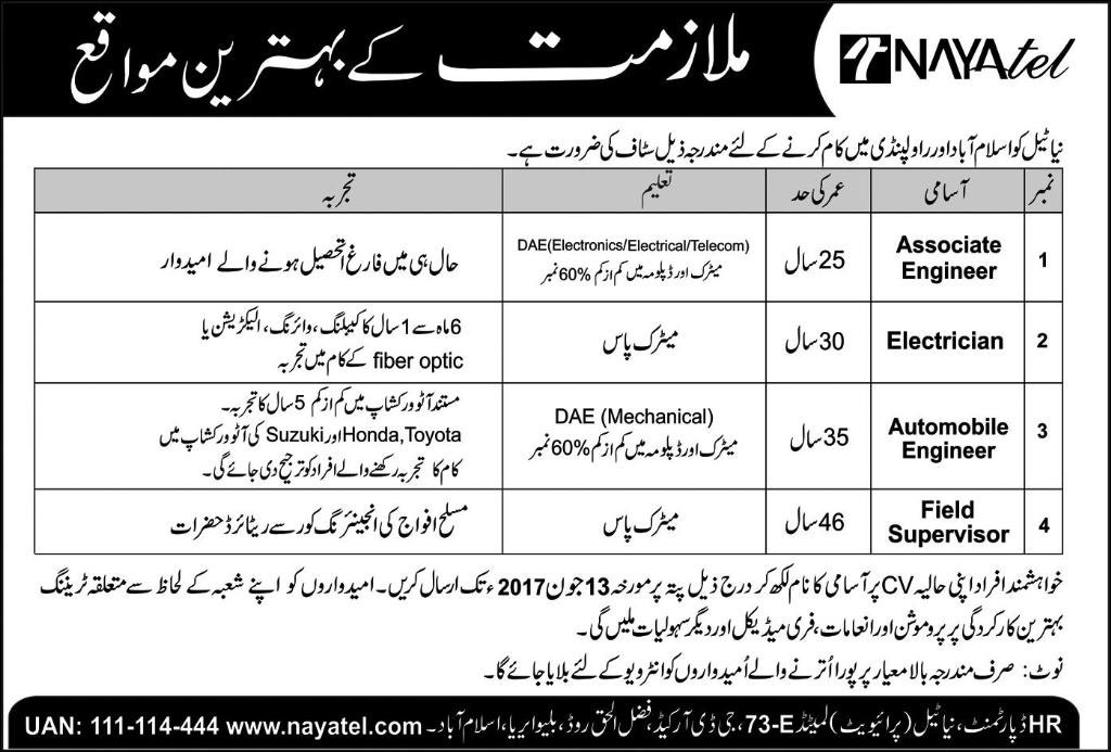 Job in Nayatel Islamabad and Rawalpindi 4 June 2017