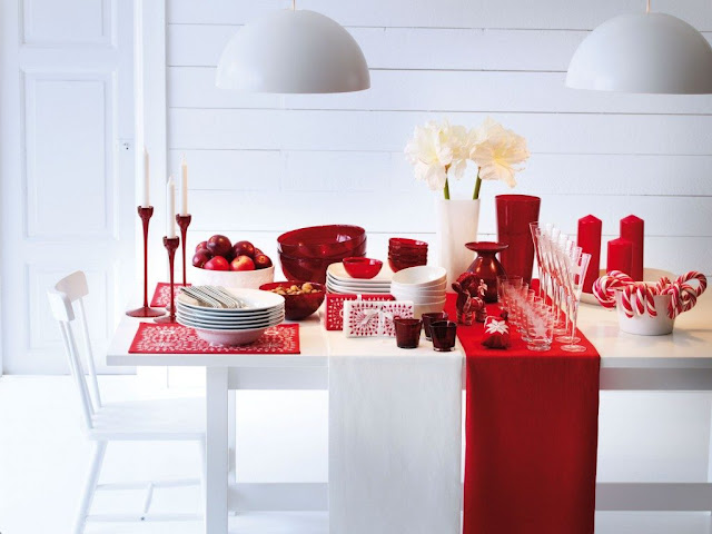 Red and White Collaboration for Dining Table