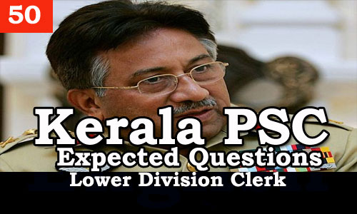 Kerala PSC - Expected/Model Questions for LD Clerk - 50