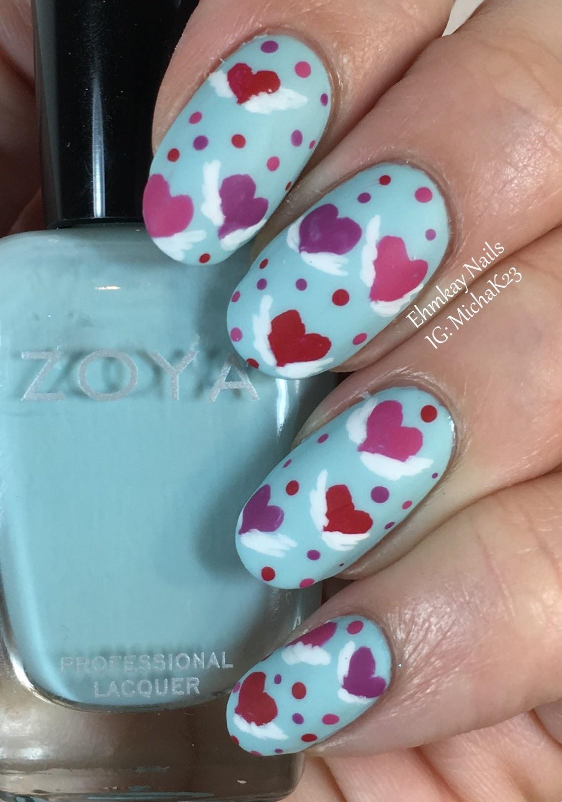 ehmkay nails: Valentine\'s Day Nail Art: Hearts with Wings with Zoya ...