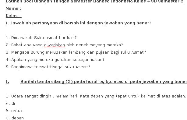 Soal UTS Bahasa Indonesia Kelas 4 SD Semester 2 KTSP