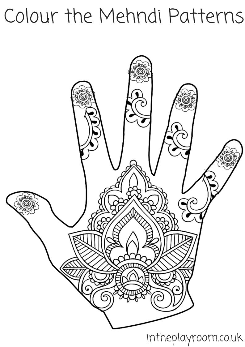 Suneve Lyrics My Voice Mehndi Hand Art Adult Coloring Page