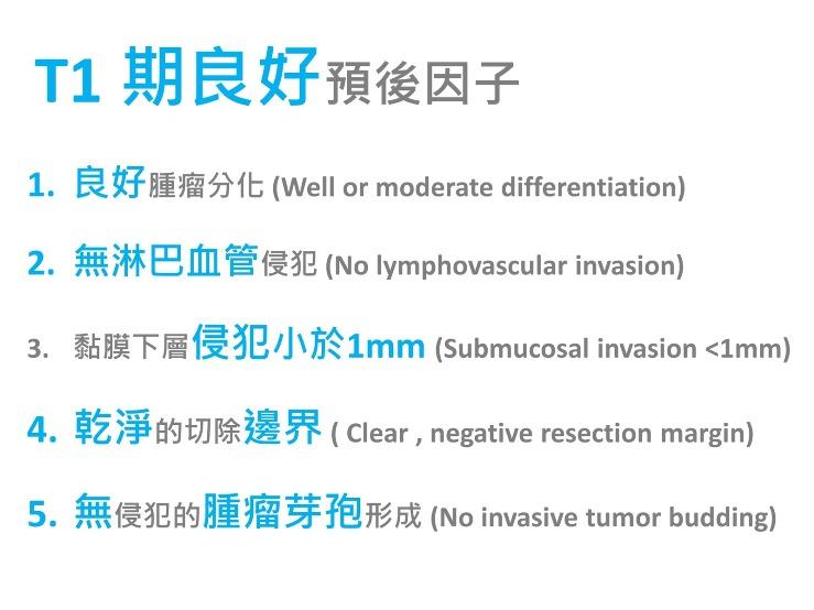 T1大腸直腸癌的良好預後因子