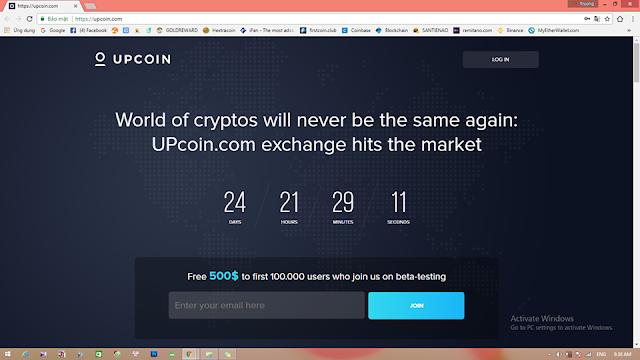 Đăng ký nhận 500$ UPcoin.com - Sàn giao dịch Crypto