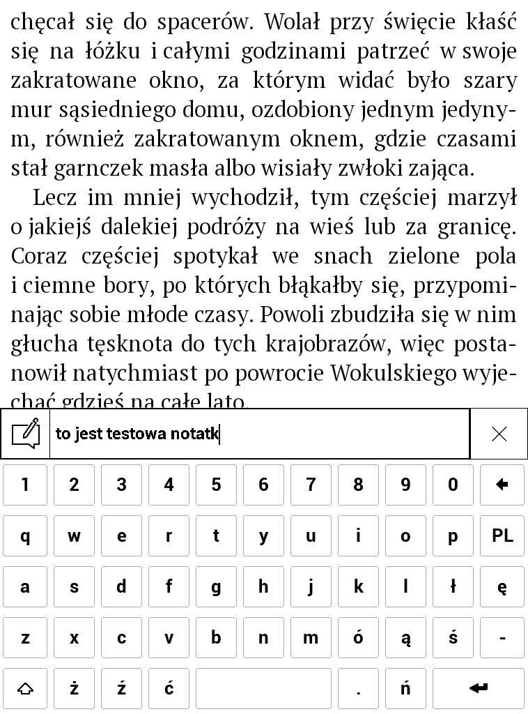 PocketBook Touch Lux 4 – wpisywanie treści notatki