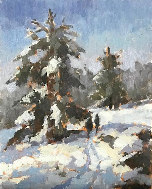 #439 'Walk in the Snow' 24x30cm