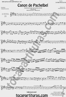 Canon de Pachelbel Partitura Instrumentos en en Si bemol para tocar junto a las otras partituras con Trompeta, Saxo Tenor, Soprano Sax, Saxo barítono, Clarinete sheet music B flat