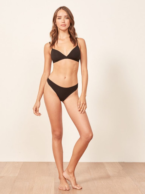 Reformation 'Kass' Bralette $35 and 'Karen' Thong in Black $12