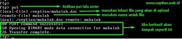 mengupload file ftp via server cli