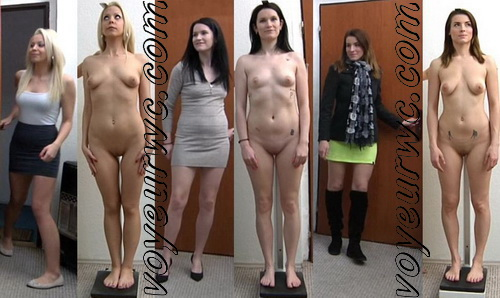 Naked girl on reception at the gynecologist. Gyno exam for tall girls at gyno clinic