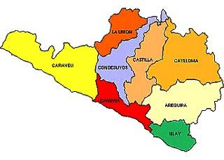 Dibujo del Mapa político del Departamento de Arequipa