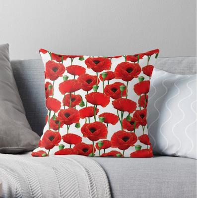 Red Poppy Pattern Pillow Redbubble