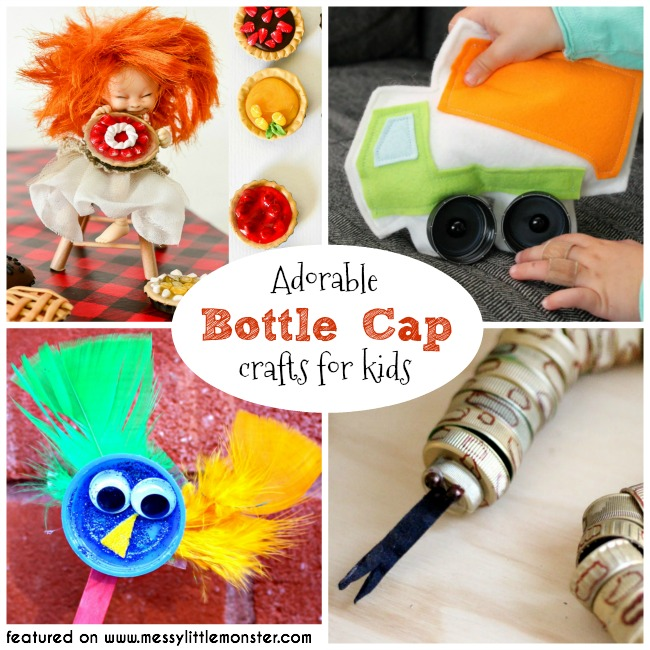 Bottle cap crafts for kids.  A collection of fun bottle top ideas for toddlers, preschoolers and older kids to make from bottle tops. Bottle cap DIY toys. Bottle cap pies, bottle cap truck, bottle cap puppets, bottle cap snake and lots more.