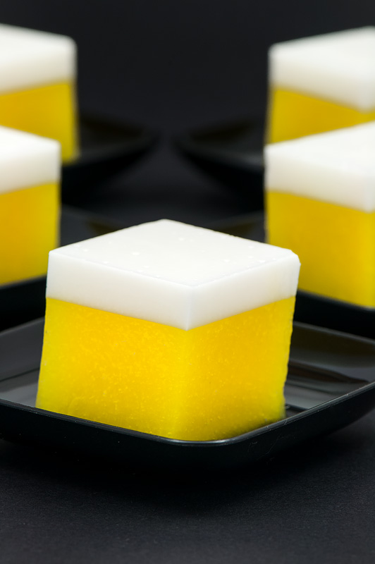 Mango cocos agar cube thai dessert close up