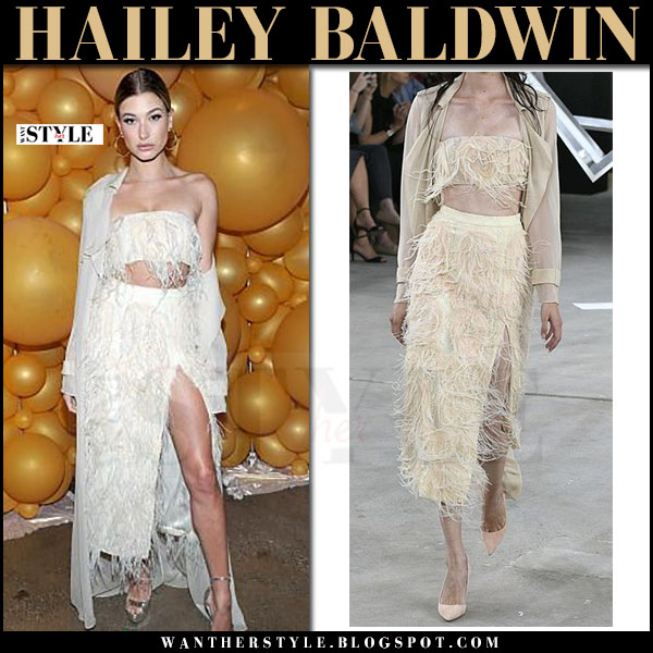 Hailey Baldwin in white feather bandeau top and feather pencil skirt from Sally Lapointe what she wore march 2017