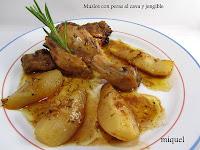 Muslos de pollo con peras al cava con jengibre