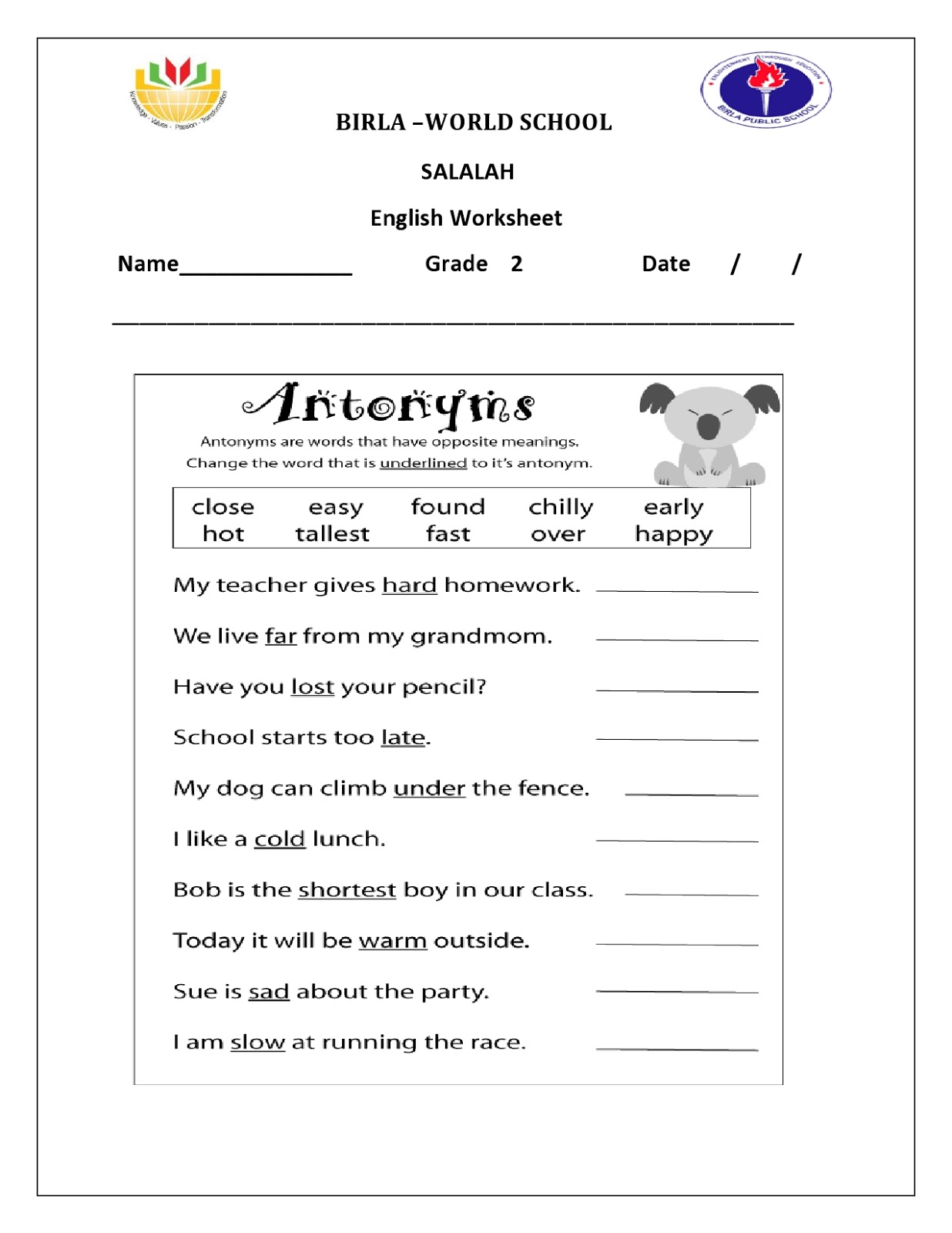 Birla World School Oman Homework For Grade 2 B On 17 3 16
