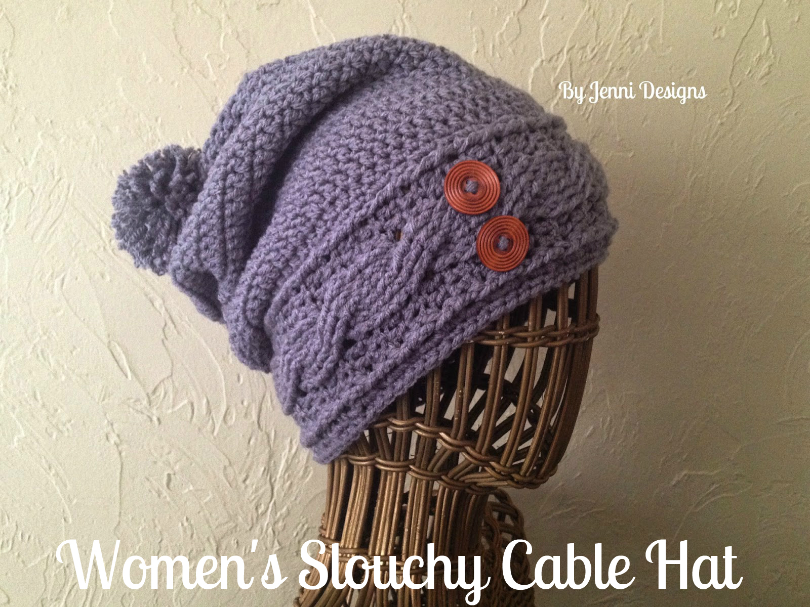 By Jenni Designs  Free Crochet Pattern  Women s Slouchy Cable Hat 0cc8c27fbf