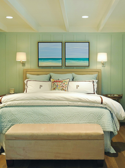 Set of Ocean Art Prints Bedroom above Headbaord