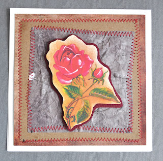 craft project greeting card red rose
