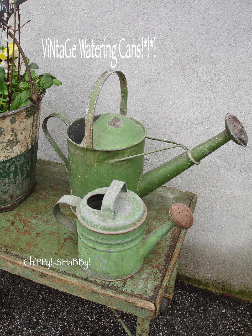 Chippy Shabby Time Worn Patina Vintage Garden Bucket