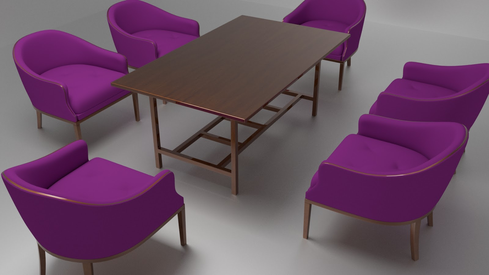 Free 3D Dining Chairs & Table .blend file