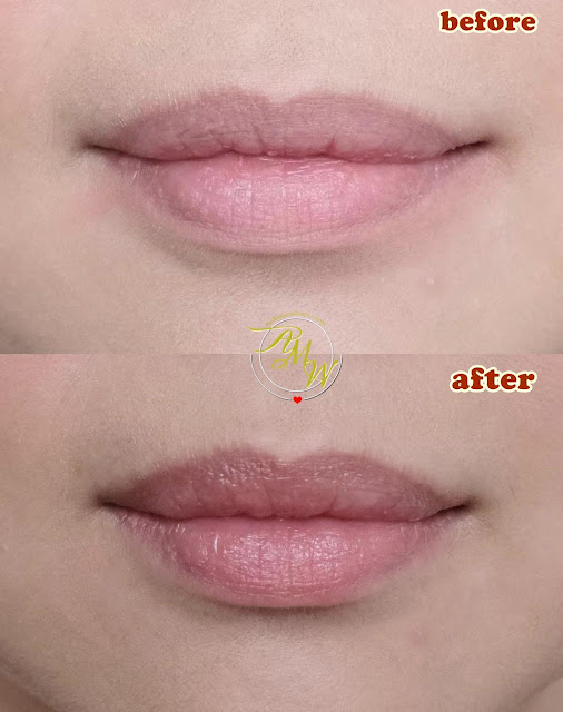 before and after photo of Burt's Bees Lip Care Regimen with Conditioning Lip Scrub, Overnight Intensive Lip Treatment and Tinted LIp Balm in Rose.