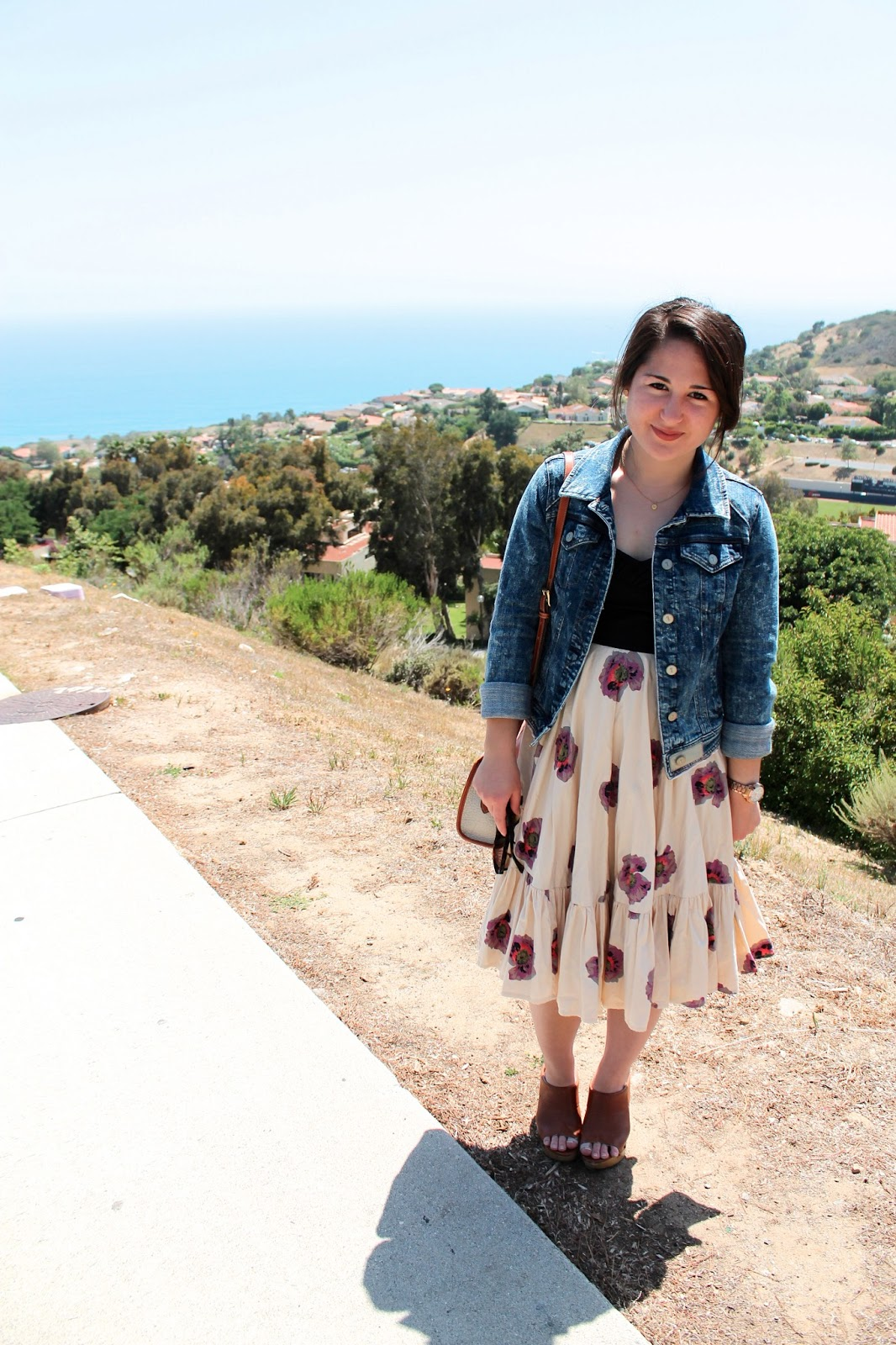 Casual Spring Outfit: Acid Wash Denim Jacket + Floral Dress