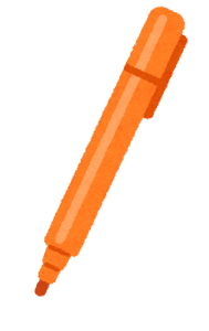 マーカーのイラスト(開いた状態・オレンジ)