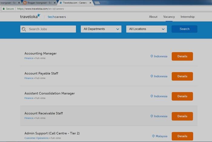 lamaran kerja lewat portal website