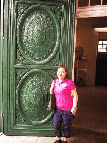 At the door of Sto. Domingo Church at Largo do Senado in Macau