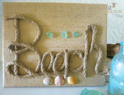 DIY Burlap Rope Beach Sign on Canvas
