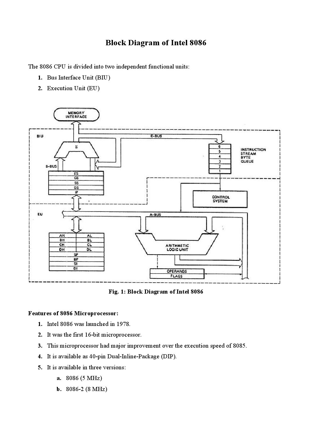 Block Diagram of 8086 Microprocessor | Study Materials