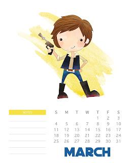 Calendario de Star Wars 2018 para Imprimir Gratis.
