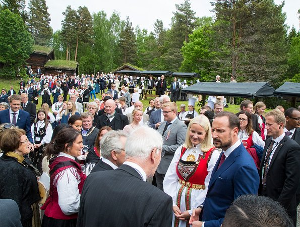 Queen Sonja, Crown Princess Mette-Marit, Crown Prince Haakon and King Harald attend garden party at Open-air Museum in Lillehammer