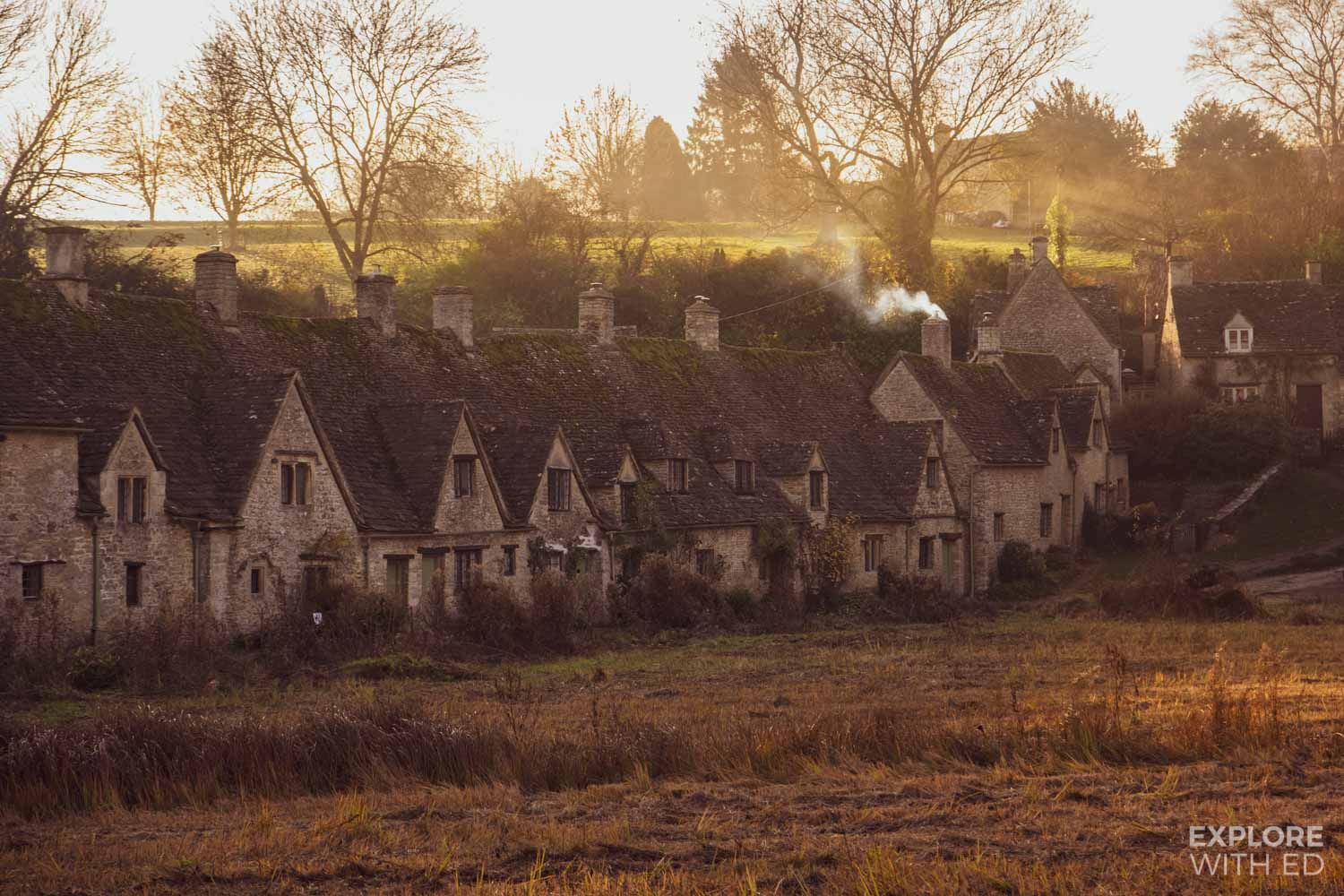 Autumnal Cotswold scene, Arlington Row in Bibury